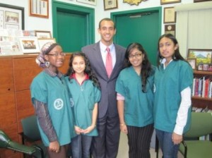 Dr. Gebremedhin with the four outstanding Bronx HSMS Pre-Med program students