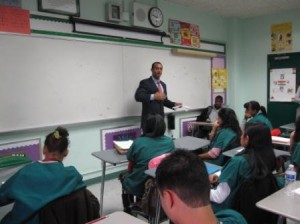 Dr. Gebremedhin speaking to the Bronx HSMS Seniors