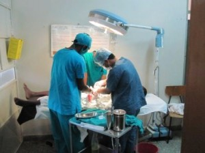 Surgery being performed in the rural Adama hospital